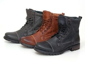 Mens-Boots-Military-Combat-Style-Shoes-Canvas-Faux-Leather-Outer-Lace-Up-New