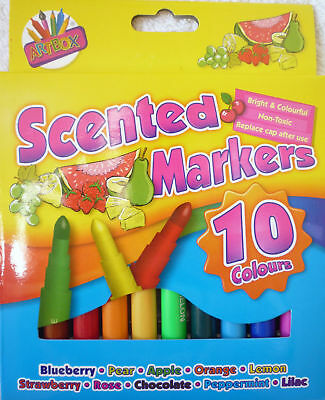10 Scented Felt Tips Pens Markers Apple, Peppermint, Orange, Banana, Milk etc