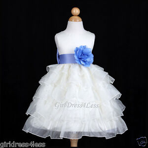 82b384470d6 Image is loading IVORY-PERIWINKLE-PRINCESS-PAGEANT-WEDDING-FLOWER-GIRL-DRESS -