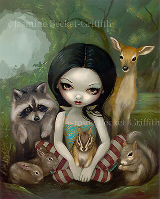 Jasmine Becket-Griffith art print SIGNED Snow White and Her Animal Friends goth