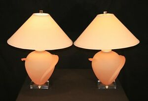Pair-Vintage-Pink-Satin-Frosted-Glass-Lucite-Sculpted-Lamps-Mid-Century-Modern