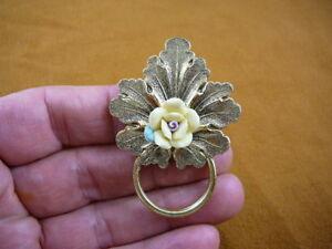 #E-788) Yellow rose Eyeglass BRASS pin pendant ID badge holder