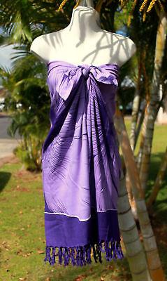 Sarong Hawaiian Luau Wrap Dress ~ PURPLE GIANT HIBISCUS