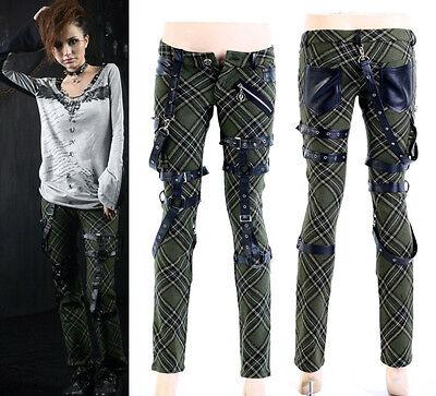 Punk Visual Kei Black STUB SLIM Zip Up K124 Green CHECKER PANTS S-2XL ア
