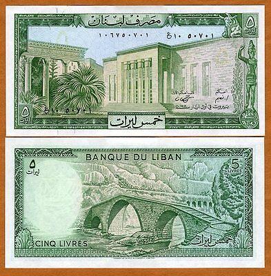 Lebanon, 5 Livres, 1986, P-62 (62d), aUNC-UNC