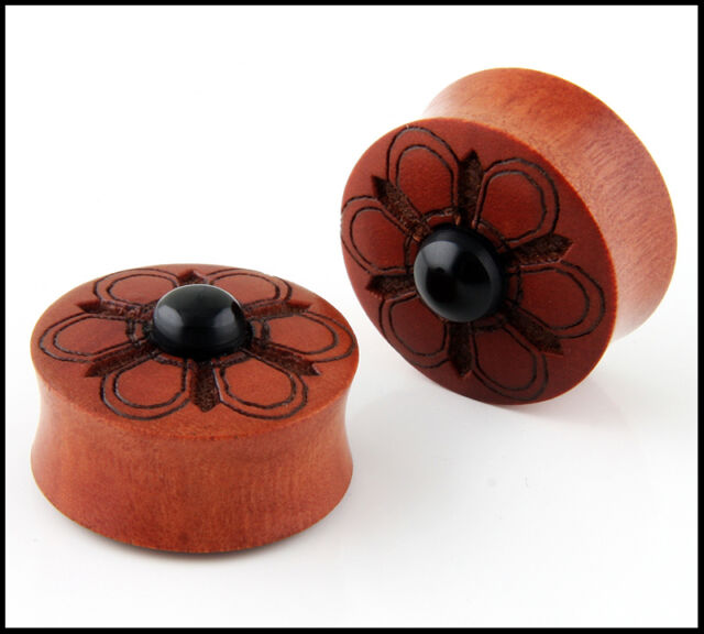Pair Double Flare Hand Carved Tribal Flower Organic Sawo Wood Ear Plugs Gauges