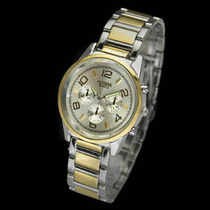 Mens-Stainless-Steel-Silvery-and-Gold-Wristwatch-VGB