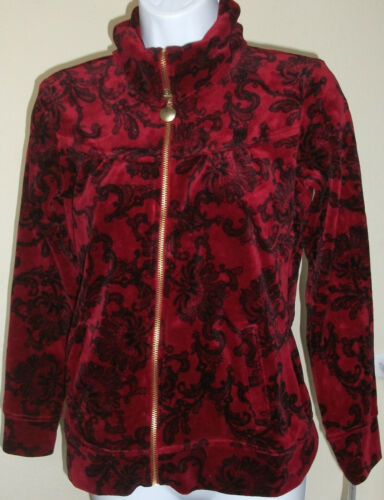 NWT Genuine STYLE /& CO SPORT red//blue//purple velour zip jacket size PM,PL,PP
