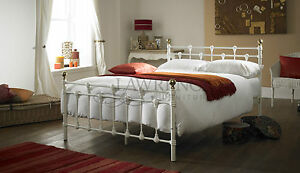 image is loading oxford double 4ft 6inch white metal bed frame - White Metal Bed Frame