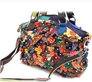 Genuine-Leather-Multi-Color-Flower-Petal-Patchwork-Crossbody-Hobo-Bag