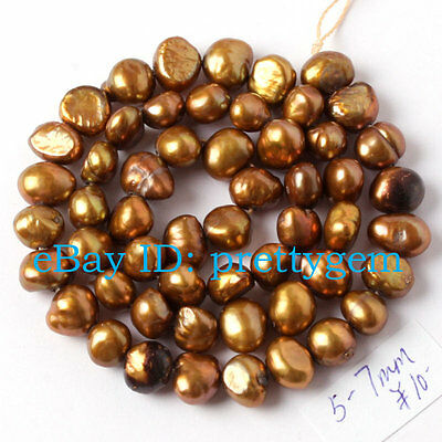 """5MM - 7MM FREEFORM GOLDEN YELLOW FRESHWATER PEARL CULTURED BEADS STRAND 15"""""""
