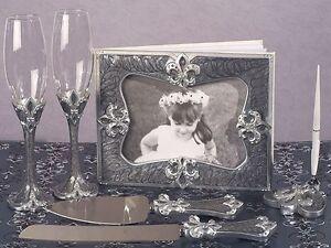 Fleur-de-lis-Guest-Book-Pen-Toasting-Flutes-Cake-Knife-Server-Set-Wedding