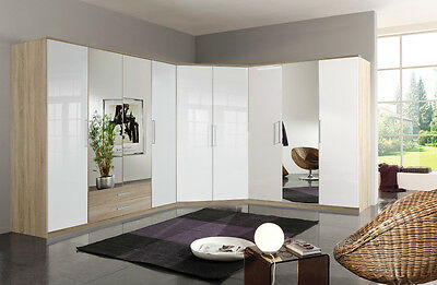 Qmax German Made Bedroom Furniture - Grande Wardrobe Range - Oak/White