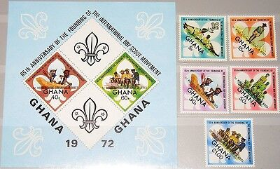 Ghana 1973 505-09 Block 50 484-489 Boy Scouts Pfadfinder Conference Ovp Üd Mnh Organizations Topical Stamps