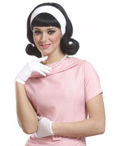 1950's Peggy Sue Flip Up Jackie O BLACK Wig w/ Headband
