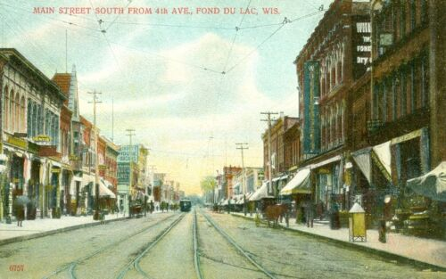 Fond Du Lac,WI. A very early view down Main Street South from 4th Avenue