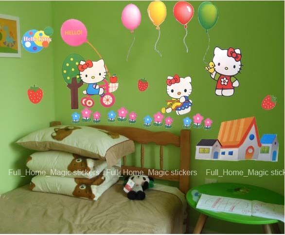 *HELLO KITTY* Girls' Room Decor Wall Paper Sticker