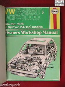 VW-Repair-Manual-Rabbit-Scirocco-1974-1976-Haynes-Used-re-bound
