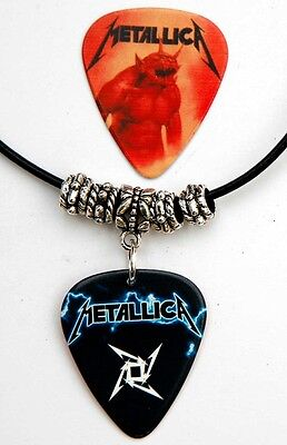 Metallica Guitar Pick Black Leather Necklace + Matching Plectrum Double Sided