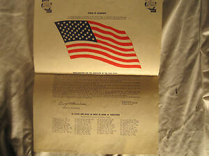 """1959 """"Pledge of Allegiance"""" Poster Distributed by the US Navy! + 50 States List!"""