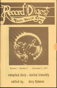 Record-Digest-Music-World-New-Vol-1-No-4-Nov-1-1977-Only-200-Pressed-Mag