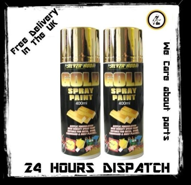 2x 400ml Silver Hook Chemicals Presents Gold Spray Paint Acrylic High Density