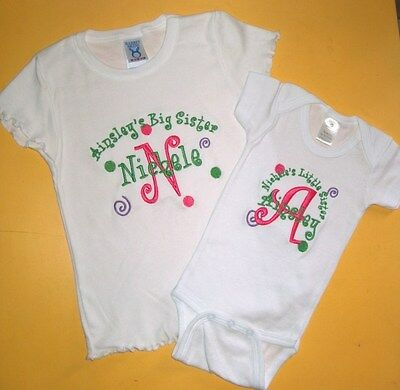 Personalized Big / Little Sister OR Big / Little Brother T SHIRT & CREEPER SET