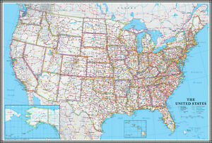 United States USUSA Wall Map Poster Classic Blue Edition By - States in us map