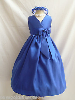 ROYAL BLUE BRIDAL TODDLER WEDDING PARTY RECITAL GOWN PAGEANT FLOWER GIRL DRESS