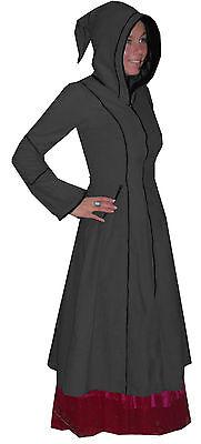 Grey Long Medieval Pointy Hood Pixie Coat S 10 Goth Pagan Witch Goth Boho Emo