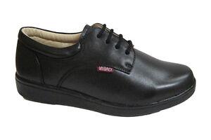 vegace 9646 womens black leather comfort slip resistant