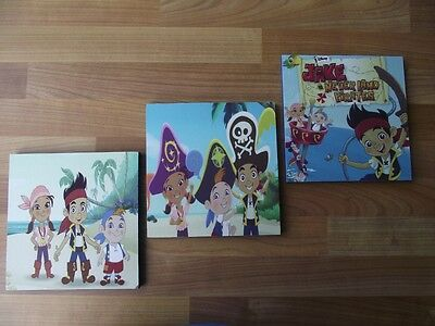 JAKE AND THE NEVERLAND PIRATES CANVAS WALL ART PLAQUES/PICTURES SET- FREE POST