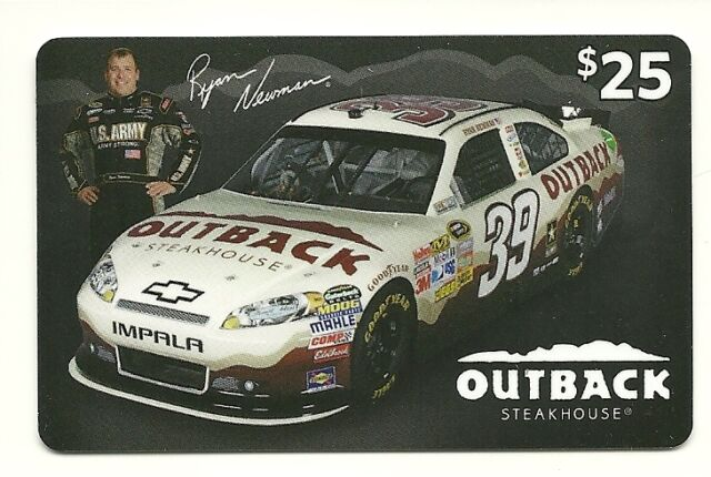Ryan Newman Outback Restaurant Gift Card No $ Value Collectible Only