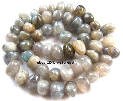 8-10mm natural Labradorite smooth baroque Beads 15''
