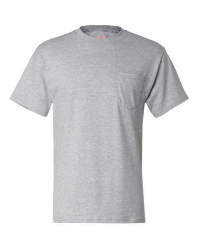 Hanes Beefy Short Sleeve T Cotton T-Shirt with Pocket 5190 S-XL 2XL 3XL NEW