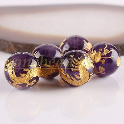 5PC Amethyst Crystal Quartz Dragon Ball 14mm Gemstone Loose Beads Findings