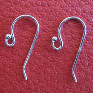 10-Sterling-Silver-Earwires-French-Ear-Hooks-W-Bead-Tip-Solid-Sterling-Silver