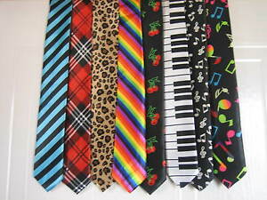 Unisex-Printed-Ties-Neon-Party-School-Ties-Fancy-Dress-Dancewear-Rave-Goth-Emo