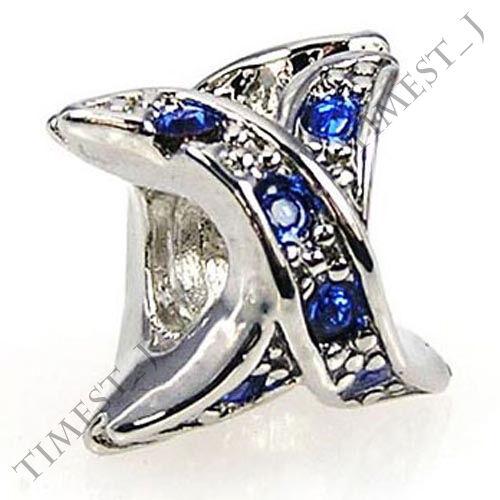 Wholesale Lot 6pcs Silver X CZ European Spacer Charm Beads For Bracelet Necklace