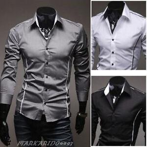 NWT-Mens-Casual-Luxury-Stylish-Slim-fit-Stylish-Dress-Shirt-4size-3Colors-h535