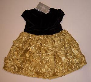 NWT-Koala-Kids-Black-Velvet-Gold-Rosette-Holiday-Party-Dress