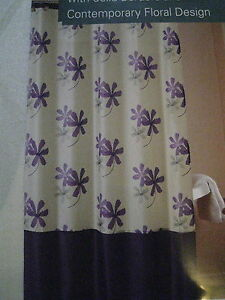 carley tropical purple grey floral flowers fabric shower curtain new ebay. Black Bedroom Furniture Sets. Home Design Ideas
