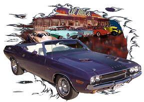 1970-Plum-Dodge-Challenger-Convertible-RT-Hot-Rod-Diner-T-Shirt-70-Muscle-Car-T