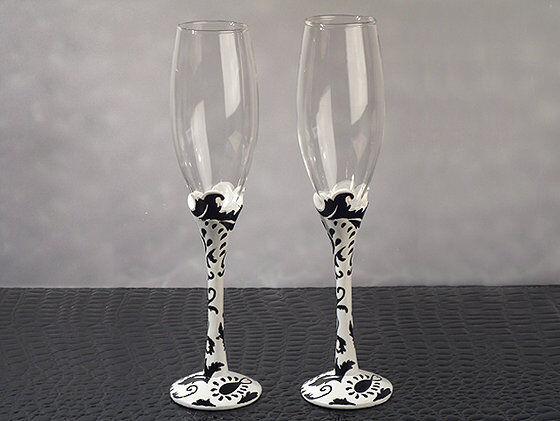 Stylish Damask Collection Flutes Toasting Glasses Toasting Flutes Wedding Toast