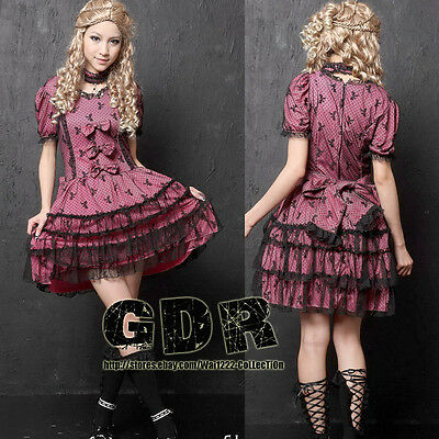 GOTHIC PUNK LOLITA ALICE 81088 RED LACE REMOVE SLEEVE PARTY DRESS + NECKLACE S-L