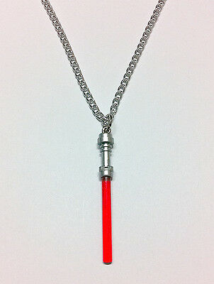 """Lego Star Wars Red Lightsaber Handcrafted Necklace 30"""" Silver Chain Jewelry"""
