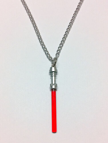 "Lego Star Wars Red Lightsaber Handcrafted Necklace 30"" Silver Chain Jewelry"
