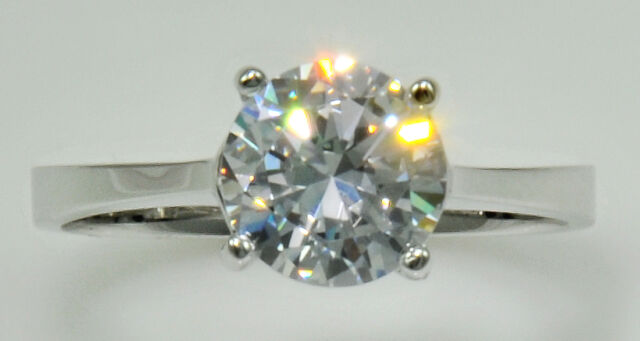 1 ct Ring Top Russian Quality Extra Brilliant  CZ   Sz 8 Sterling Silver