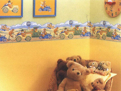 TEDDY BEAR SHAPED NURSERY CHILDRENS WALLPAPER BORDER SELF ADHESIVE 5m X 21cm NEW