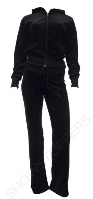 NEW Womens TRACKSUIT VELOUR Hoodie POCKET Ladies SUIT Black Size 8 10 12 14 16 *